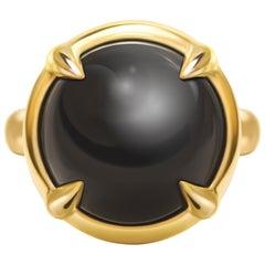 19 Carat Natural Black Obsidian 14 Karat Yellow Gold Ring