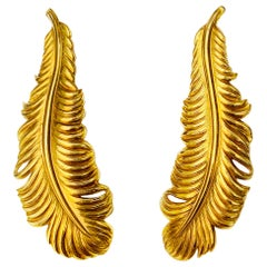 """19.2 Karat Yellow Gold Hand Chiseled """"peacock feather"""" Earrings"""