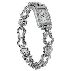 1920 Art Deco Diamond Dress Bracelet Watch in Platinum, Swiss Movement