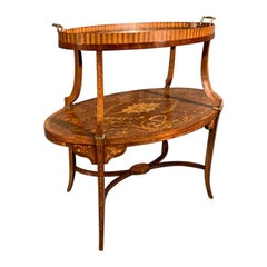 1920s Edwardian Tray Top Étagère in Satinwood and Marquetry with Brasses