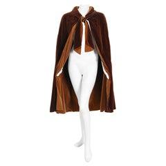 1930 Chanel Haute Couture Brown & Caramel Velvet Scarf-Neck Sculpted Deco Cape
