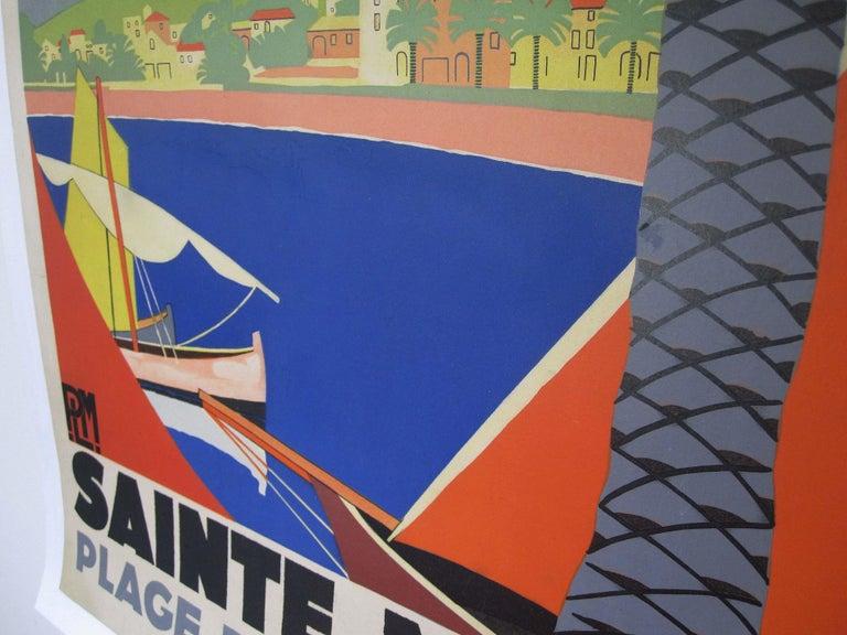 Art Deco 1930s Original Georges Redon Sainte-Maxime Travel Poster, France For Sale