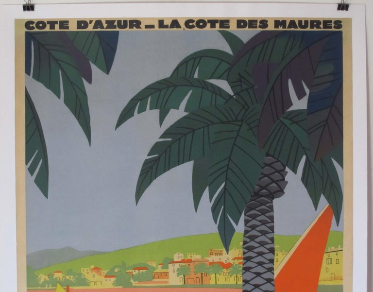 1930s Original Georges Redon Sainte-Maxime Travel Poster, France In Excellent Condition For Sale In Buffalo, NY
