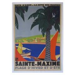 1930s Original Georges Redon Sainte-Maxime Travel Poster, France
