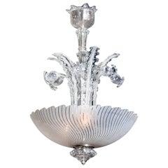 1940 Art Nouveau Crystal Art Glass Chandelier by Fritz Kurz for Orrefors, Sweden