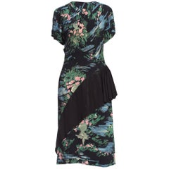 1940's Brush Stoke Print Floral Rayon Dress With Asymmetrical Peplum Skirt