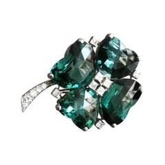 1940s Clover Tourmaline Diamond on Platinum Clip Brooch