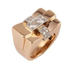 1940s French Diamond Gold Bridge Ring