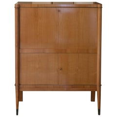1940s French Secretaire, Lacquered Birch Wood and Brass Details
