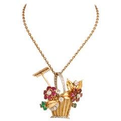 1940s Ruby, Emerald, Tourmaline and Diamond Gold Flower Basket Pin/Pendant