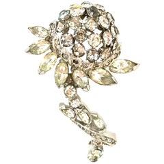1940'S Silver & Austrian Crystal Dimensional Flower Brooch By, Eisenberg