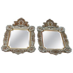 1950-1970 Pair of Mirrors with Decors Eglomised