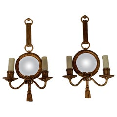 1950-1970 Pair of Sconces in Gilted Bronze with Convex Mirror Petitot Signed