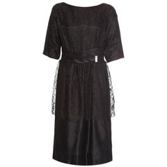 1950s Black Chantilly Lace Peplum Cocktail Dress With Pleated Satin Sash