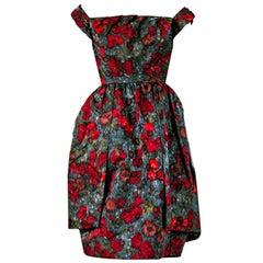 1950's Claire Schaffel Watercolor Floral Print Silk Off-Shoulder Peplum Dress