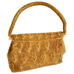 1950'S Gold Art Glass Bead Evening Bag By, Steven Chu - Hong Kong