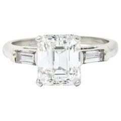 1950s Midcentury 2.72 Carat Emerald Cut Diamond Platinum Engagement Ring GIA