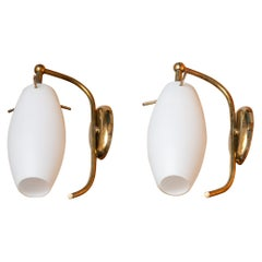 1950s, Pair of Brass Stilnovo Wall Lights with Opaline Shades / Vases, Italy