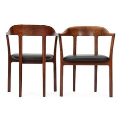 1950s Pair of Danish Hump Back Armchairs by Ole Wanscher for A.J. Iversen