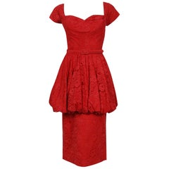 1950's Perdieu Cherry-Red Lace Sweetheart Belted Peplum Cocktail Party Dress