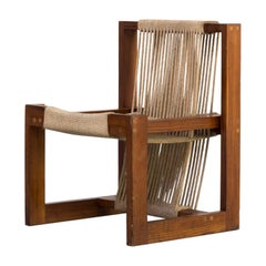 1950s Rope Chair in Pine Wood