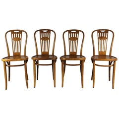 1950s Set of Four Bistro Chairs, Thonet
