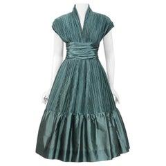 1950's Teal Blue Heavily-Pleated Silk Cummerbund Full Skirt Custom-Made Dress