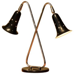 1950s, Two Shades Metal Black Lacquered and Chromed Desk/Table Lamp, USA