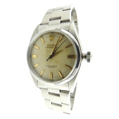 1955 Rolex Men's Watch 6586 Stainless Steel White Dial Gold Markers