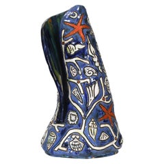 1960 Spectacular Enameled Ceramic Vase by Régil 'signed', France