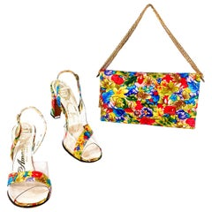 1960s/1970s Floral Printed Heels with Matching Purse