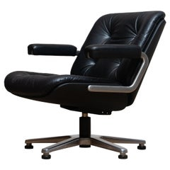 1960s, Black Leather Swivel Chair by Martin Stoll for Giroflex Stoll Mdl, 7065