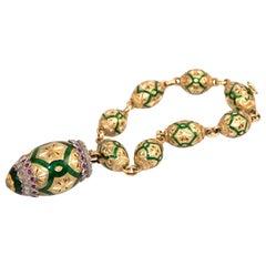 1960s Cazzaniga Green Enamel, Ruby Diamond Gold Charm Bracelet