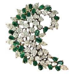 1960s Diamond and Emerald Swirl Brooch/Pendant Signed Van Clief