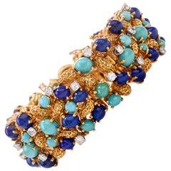 1960s Diamond Lapis Turquoise 18 Karat Nugget Gold Wide Bracelet