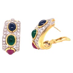 1960s Diamond Sapphire Emerald Ruby 18 Karat Two-Tone Gold Earrings