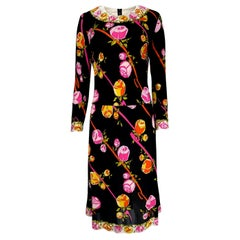 1960s Emilio Pucci Prettiest Pink Floral Print & Black Silk Jersey Dress
