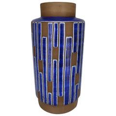 1960s Handmade Danish Ceramic Cobalt Blue Striped Vase by Schollert Keramik