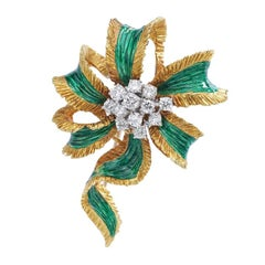 1960s Kutchinsky Diamond Platinum Gold Bow Brooch