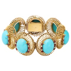 1960s Large Turquoise with Ruby and Diamond Accents Gold Link Bracelet