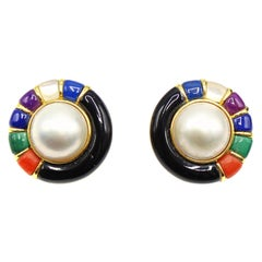 1960s Mabe Pearl Multi Stone Round Yellow Gold Ear Clips