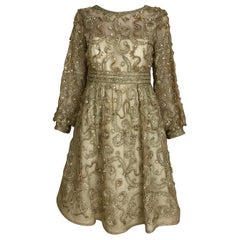 1960s Malcolm Starr Gold Metallic Embroidered Long Sleeve Cocktail Dress