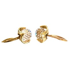 "1960'S Pair Of 14K Gold  & Austrian Crystal Cut And Faceted ""Ball"" Cufflinks"