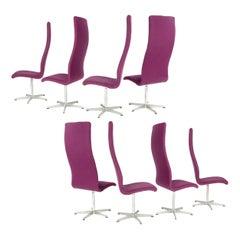"""1960s Set of 8 Danish High Back """"Oxford"""" Chair by Arne Jacobsen for Fritz Hansen"""