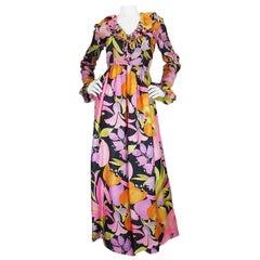 1960s Silk Chiffon Floral Oscar De La Renta Jumpsuit