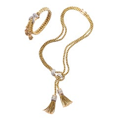 1960s Stylish Tassel Bracelet Braided Gold With Diamonds