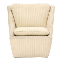 1960s Unattributed Sculptural Lounge Chair in Original Corduroy Upholstery