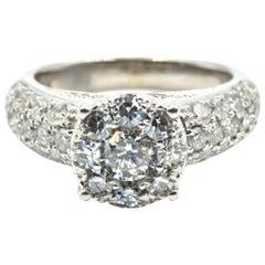 1.97 Carat Diamond Cluster Engagement Ring 14 Karat White Gold