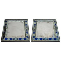 1970-1980 Pair of Louis XIV Style Venice Mirrors with Blue Glass Ornaments