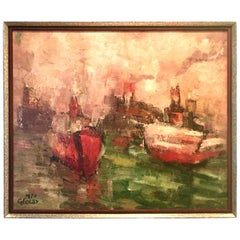 1970 Original Oil on Canvas Abstract Painting by, Emilan Glocar